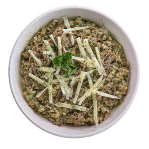 Bowl RISOTO FUNGHI COM CARNE DESFIADA Bowls saudáveis franquia saudável Boali