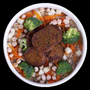bowl quente arroz integral vegano com faláfel